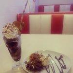 waffles and chocolate sundae