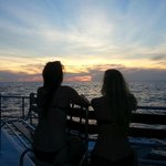 Sunset on the snorkel catamaran tour