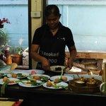 Poo teaching us how to cook Thai food