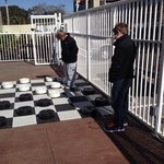 Cold but fun outdoor checkers