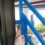 Steel gate on door