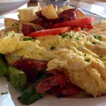 French Omelette (asparagus, cheese and ham) with Potatoes on the side