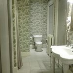 Spacious Colonial Room ensuite: shower stall tucked in to the left.