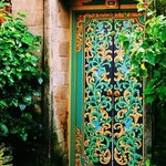 the ornate door to our Villa