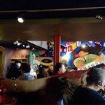 Colorful mural in main room