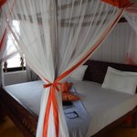 The bed with mosquito nets