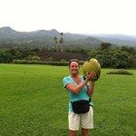 Kahunu Gardens, Hana, the Heiau is in the background with Palms on top!