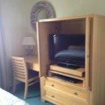 Bedroom - desk, dresser, flatscreen armoire