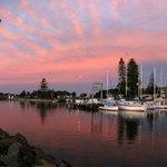Forster marina at dusk.