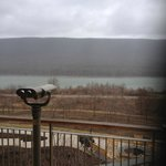 High powered binoculars located outside of lobby.  Directly across the lake from the Eagle's nes