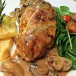 Chicken breast in cognac sauce dinner