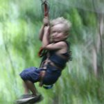 5 Year old Zip-lining!