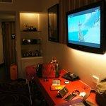 tv and minibar area