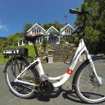 Glenfalloch Green Bike in front of the Homestead