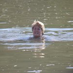 Guest swimming in the Orange river near the Lodge