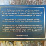 The dedication plaque to the course designer