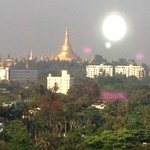 The view of the Shwedagon from Hotel Grand United