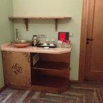 Tea/coffee making facilities and fridge (contained a mini bar)