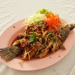 Deep fried Red Snapper in Sweet & Sour Spicy Sauce