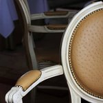 Opulent ostrich hide chairs.