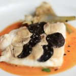ohn Dory fillet with scales of black truffle and mushroom. Poached artichoke & a blue-lobster bu