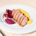 Duck breast with red cabbage mousse and mashed pumpkin