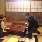 Mrs Haraguchi preparing a hot green tea for us