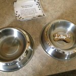 The water/food bowls they provided and doggy treat!