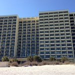looking at hotel from ocean front