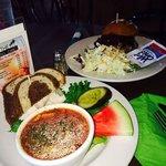 Gazpacho soup, 1/2 turkey sandwich and bbq pork sandwich.
