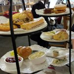 Huge Gluten Free afternoon tea closest and the lovely regular afternoon tea in the back. Some sn