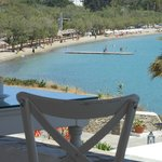 View of Livadia beach from breakfast area