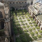 View of Seville Cathedral courtyard from the La Giralda tower