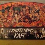 Dette er godt nok et postkort fra cafeen, men er et billede af noget væg-udsmykningen.