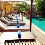 pool lounge chairs neatly arranged every morning