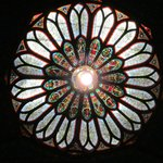 Stained glass window on ceiling