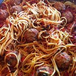 spaghetti with meatballs - catered by sinatra's