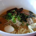 Beast Bowl:  fresh ramen noodles with oxtail wonton, egg, seaweed, bean sprouts, beef belly.