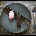 Chocolate Marquis, Frozen Cherry Yoghurt & Pistachios