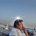 Por do Sol em Santorini do terraço do hotel.