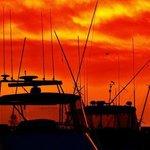 Sunset over Forster marina