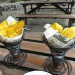 Plantain Chips served with burger at beach