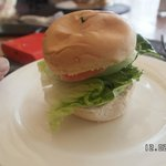 Close up of the small mini-burger