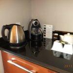 The espresso machine & thermos for hot water.