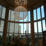 The chandelier crystal in the lobby.