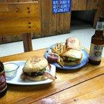 Muffaleta burger, Oyster Po Boy, and local brew