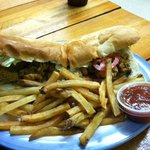 Close up of Oyster Po Boy - great choice