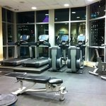 The gym with a view overlooking the Montreal skyline.