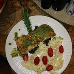 Herb Crusted Salmon with a Caper Vinaigrette with Orzo with Feta, Lemon Juice and Grape Tomatoes