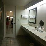 奥の鏡の扉を開けるとバスルームとトイレ